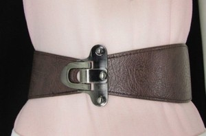 Other Women Waist Hip Dark Brown Elastic Fashion Belt Center Buckle 30-39
