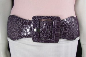 Alwaystyle4you Women Purple Belt Low Hip High Waist Elastic Square Buckle