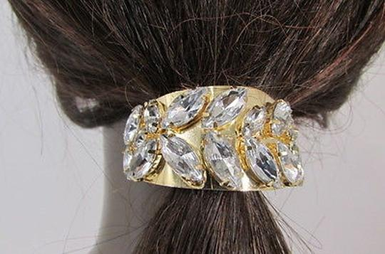Crystal Jewelry Women Gold Metal Ponytail Holder Silver Rhinestones Fashion Hair Jewelry