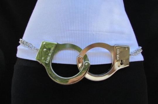 Other Women Silver Metal Chains Opening Handcuff Fashion Belt 28-45