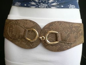 Other Women Hip Waist Elastic Beige Brown Faux Snake Skin Fashion Belt 25-35