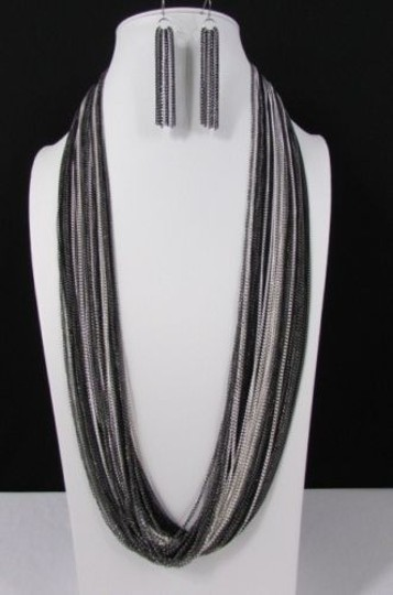Other Women Silver Black Thin Multi Chains Necklace Earrings Set