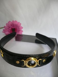 Other Women Black Faux Patent Leather Fashion Headband Gold Chain Detail Hair