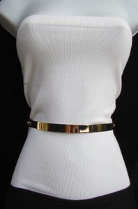 Women Thin Gold Silver Metal Plate Fashion Belt Black Elastic 26-36