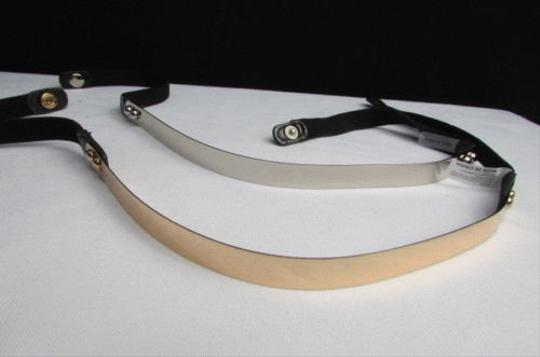 Other Women Thin Gold Silver Metal Plate Fashion Belt Black Elastic 26-36