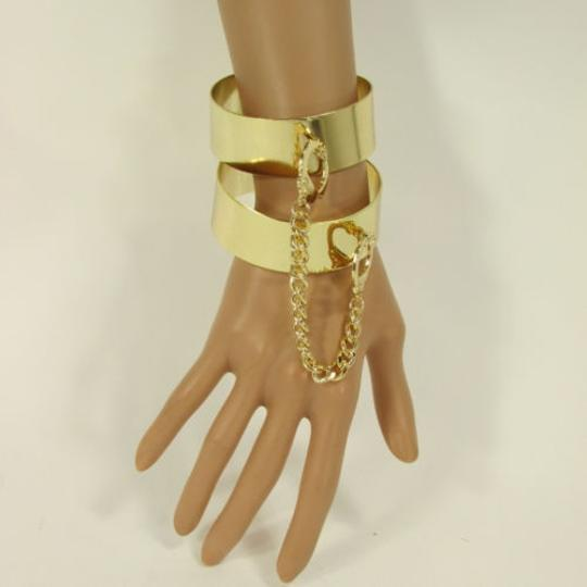 Other Women Gold Metal Plate Handcuffs Chain Fashion Connected Bracelets Bangles