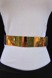 Other Women Belt Gold Metal Plate Black Gold Blue Brown Elastic Hip Waist