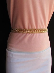 Women High Waist Hip Thick Gold Metal Chunky Chains Fashion Belt 27-37