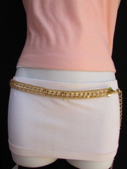 Other Women High Waist Gold Metal Chunky Chains Fashion Belt
