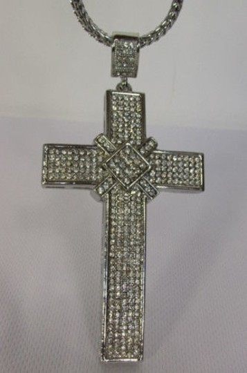 Other Men Metal Chains Necklace Silver Gold Big Mini 3d Cross Rhinestones