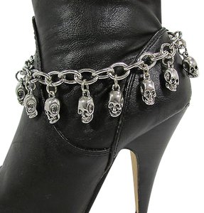 Women Fashion Boot Chain Bracelet Strap Silver Metal Shoe Mini Skull Charm Bling