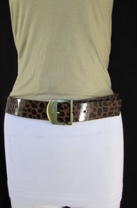 Betsey Johnson R Women Brown Faux Leather Leopard Fashion Belt 29-35 Betsey Johnson