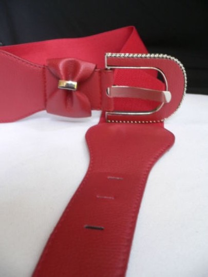 Other Women Elastic Hip Waist Red Fashion Belt Big Bow Silver Buckle 28-36 -