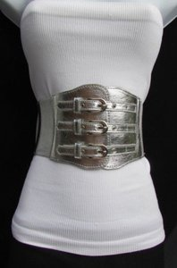Women Silver Elastic Wide Fashion Belt High Waist Buckles 25-35
