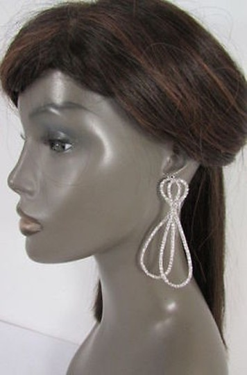 Other Women Silver Metal Classic Earrings Set Rhinestones Thin Bow
