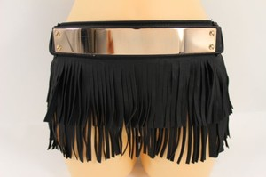 Women Black Faux Leather Fashion Gold Metal Belt Fringes Skirt 28-33