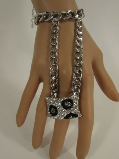 Other Women Silver Metal Links Rhinestones Slave Ring Bracelet Hand Chain
