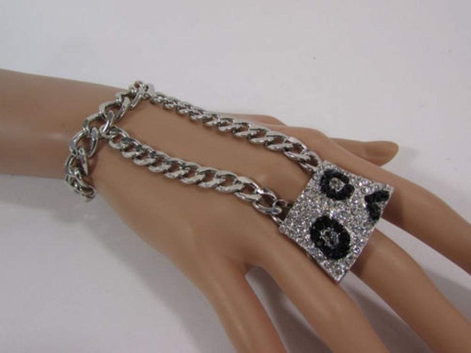 Silver Women Metal Links Rhinestones Slave Ring Hand Chain Bracelet