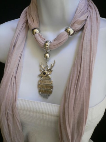 Other Women Beige Fashion Soft Scarf Necklace Silver Metal Animal Big Deer Pendant