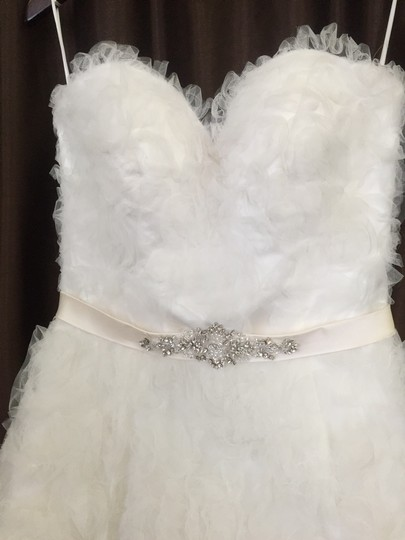 Casablanca Ivory/Ivory/Silver Tulle and Satin 2057 Wedding Dress Size 6 (S)