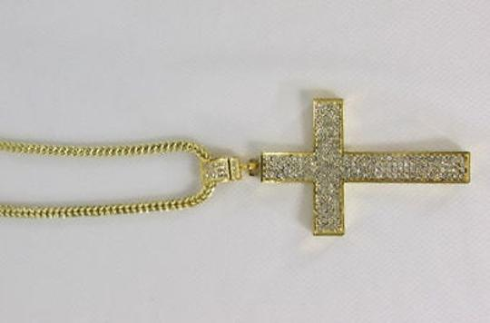 Other Men Metal Chains Long Necklace Pewter Gold Cross Rhinestones