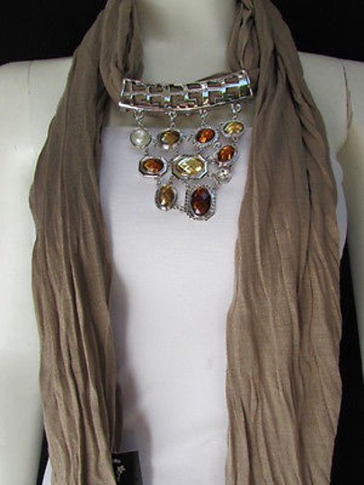 Other Women Taupe Brown Soft Fabric Scarf Necklace Silver Triangle Pendant Big Beads