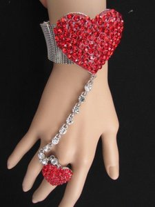 Other Women Fashion Silver Bracelet Metal Hand Chain Love Red Heart Ring Rhinestones