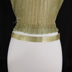 Women Mesh Metal Fashion Belt Gold Silver Hip High Waist 28-43