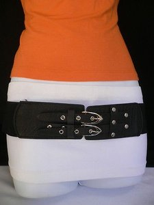 Other Women Elastic Hip Waist Black Western Belt Double Buckles 27-38