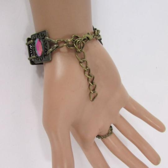Other Women Antique Gold Metal Hand Chain Bracelet Slave Ring Big Beads