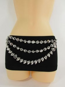 Other Women Hip Waist Silver Spikes Chain Links Fashion Belt Strand 28-35
