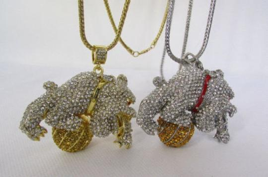 Other Men Metal Chains 17 Long Fashion Necklace Gold Silver Bulldog Ball
