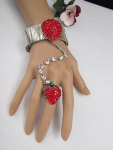 Other Women Red Strawberry Metal Hand Chain Multi Rhinestones Slave Bracelet Ring