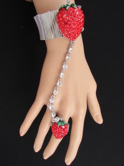 Other Women Red Strawberry Metal Hand Chain Rhinestones