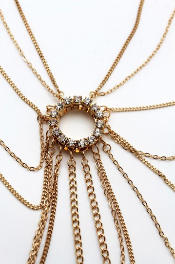 Other Women Gold Metal Multi Chains Links Body Chain Long Necklace