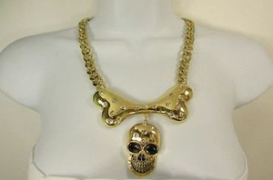 Other Women Gold Metal Chain Fashion Necklace Skull Big Bone Pendant Rhinestones