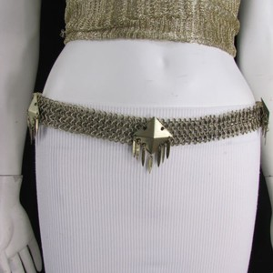 Other Women Hip Waist Antique Gold Metal Squares Chains Fashion Belt 29-37