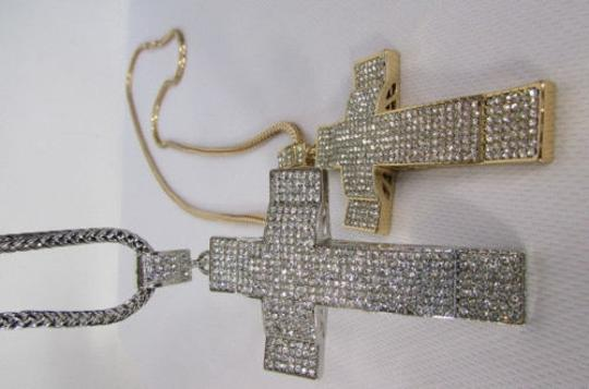Other Men Metal Chains Long Fashion Necklace Silver Gold Big 3d Cross
