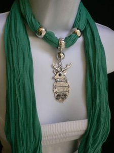 Women Gren Fashion Long Soft Scarf Necklace Silver Metal Deer Head Pendant