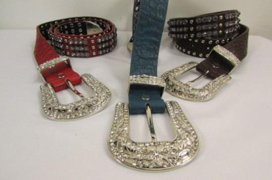 Other Women Brown Red Blue Genuine Leather Western Fashion Belt Crystals 31-35