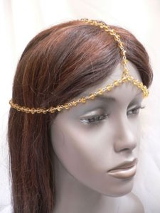 Other Women Gold Head Metal Chain Fashion Jewelry Grecian Gold Orange Beads