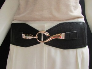 Other Women Belt Black Faux Leather Elastic Fashion Gold Hook Buckle 27-36