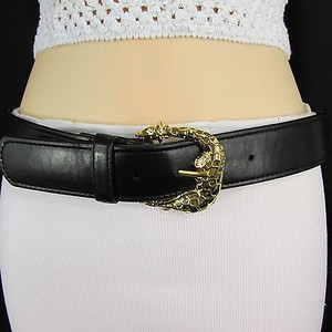 Women Black Faux Leather Fashion Belt Square Gold Giraff Buckle 25- 29