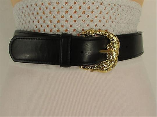 Other Women Black Leather Trendy Belt Square Gold Giraffe Buckle
