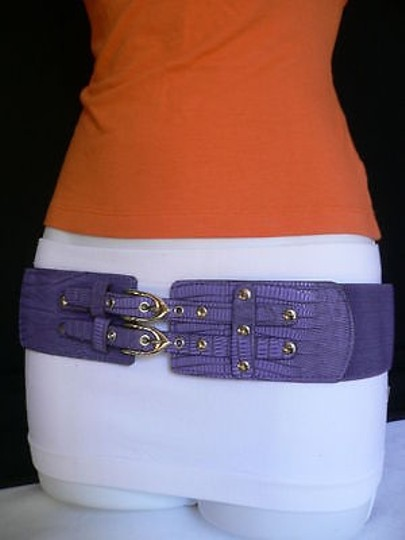 Other Women Elastic Hip Waist Purple Cowgirl Belt Double Buckles 27-38