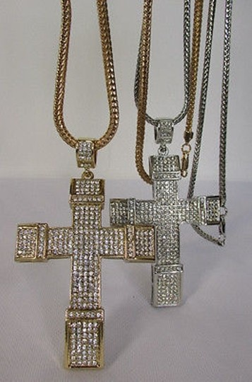Other Men Metal Chains Long Necklace Silver Gold 3d Cross Rhinestones