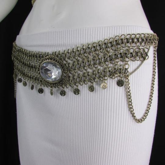 Other Women Hip Waist Antique Gold Metal Chains Fashion Belt Big Bead 29-37
