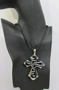 Other Women Silver Black Long Fashion Necklace Big Metal Zebra Cross Rhinestones