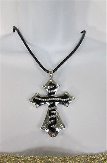 Other Women Silver Black Long Zebra Cross Rhinestones