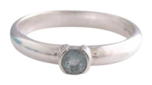 Tiffany & Co. Size 4.5, Sterling Silver, Aquamarine, Solitaire, Stacking Ring